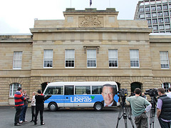 Campaign Bus at Parliament House by TasLibs