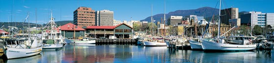 Hobart's magnificent waterfront and operational fishing port