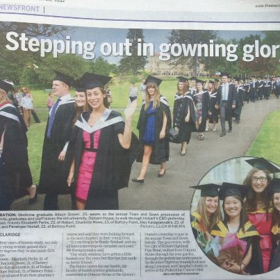 Photo: Graduations have wrapped up for another year, congratulations to all UTAS graduates!  If you check out page 3 of The Mercury today, you'll see some of our graduates during yesterday's Town and Gown Procession in Hobart.