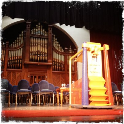 Photo: The stage for today's Launceston grads is looking good!