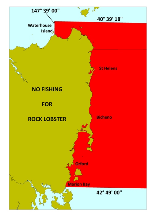 Map showing areas closed to rock lobster fishing, as at 21 December 2012