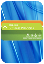 Cover page for Business Priorities 2012-2013 document