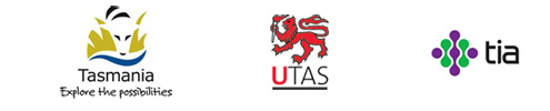 Three images - Tas Govt logo, UTAS and TIAR