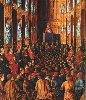 Pope Urban II stands in the center image, far back in the church at the Council of Clermont. The church members sit around the edges of the church, looking up at Urban. Between the church members are tens of common people, sitting or kneeling, also looking up at Urban. The church is packed full with people.