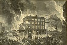 A burning building