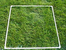 A square made of PVC pipe on grass