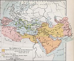 Map of Europe, North Africa an the Middle East, showing the Arab Caliphate at its greatest extent