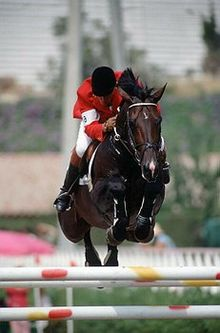 A dark horse, ridden by a person in a red coat, white pants and black boots, in mid-air over a jump. The jump is made of white rails spotted with red and yellow. In the background is a white fence and parts of several buildings.