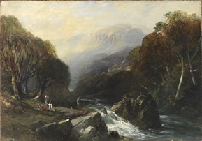 View of Mt Wellington with Hobart Rivulet by JB Skinner