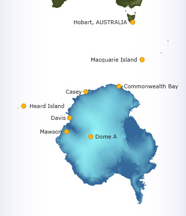 Map of Antarctica showing research stations