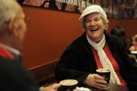 Smiling women in cafe