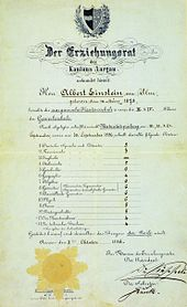 """Einstein's matriculation certificate at the age of 17. The heading reads """"The Education Committee of the Canton of Aargau."""" His scores were German 5, French 3, Italian 5, History 6, Geography 4, Algebra 6, Geometry 6, Descriptive Geometry 6, Physics 6, Chemistry 5, Natural History 5, Art Drawing 4, Technical Drawing 4. The scores are 6 = excellent, 5 = good, 4 = sufficient, 3 = poor, 2 = very poor, 1 = unusable."""