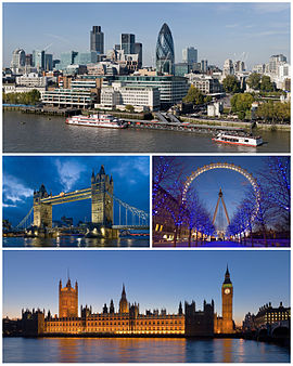 From upper left: City of London (2008), Tower Bridge and London Eye, Palace of Westminster