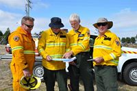 Photo: PWS staff (from left) Ian Cooling, Rod Watson, Kent McConnell and John Duggan do a final check of the burn plan.