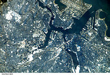 Aerial view of the Boston area from space