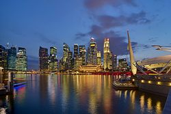 Singapore skyline viewed at dusk from The Esplanade.