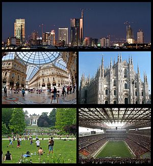 From top, clockwise: Porta Nuova Business District, Milan Cathedral, San Siro Stadium, Parco Sempione with the Arch of Peace in the background, Galleria Vittorio Emanuele II