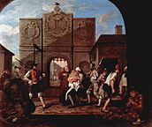 view looking out from under an arch at another arch with raised portcullis; several figures, two armed, are active in the midground, other hiddled figures appear at either side of the foreground