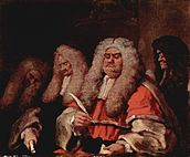 four seated figures, three with white wigs, the foiurth with a dark wig