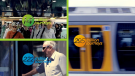 montage of train, ferry and bus transport