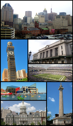 Downtown Baltimore, Emerson Bromo-Seltzer Tower, Pennsylvania Station, M&T Bank Stadium, Inner Harbor and the National Aquarium in Baltimore, Baltimore City Hall, Washington Monument
