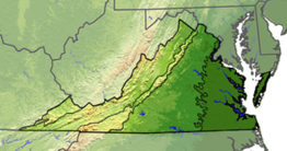 Terrain map of Virginia divided with lines into five regions. The first region on the far left is small and only in the state's panhandle. The next is larger and covers most of the western part of the state. The next is a thin strip that covers only the mountains. The next is a wide area in the middle of the state. The left most is based on the rivers which diffuse the previous region.