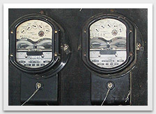 Photo of an old meter board which contains asbestos