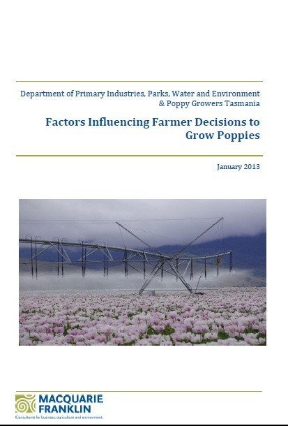 Publication Cover: Factors Influencing Farmer Decisions to Grow Poppies, January 2013