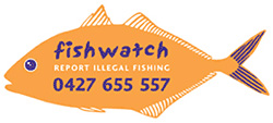 Fishwatch Logo - orange fish with blue wording inside and telephone number to report illegal fishing: 0427 655 557.