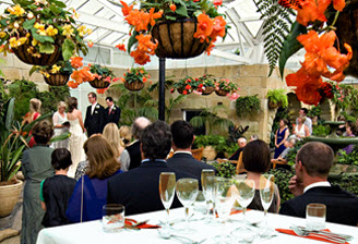 Wedding in the botanical gardens conservatory with orange tuberous Begonia's in hanging baskets and numerous guests watching the proceedings.
