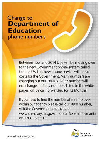 Between now and 2014 DoE will be moving over to the new Government phone System. To find a number call 1800 816 057